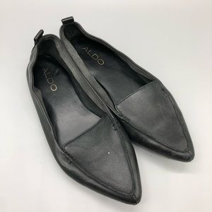 Aldo soft black leather slip on loafers